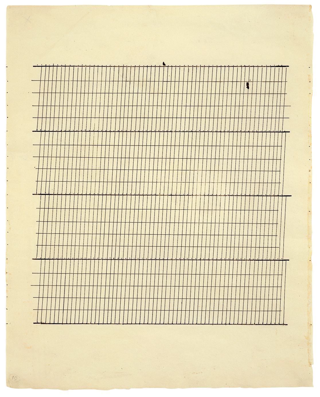 Agnes Martin, Aspiration, 1960, Ink on paper, 11 3/4 x 9 3/8 inches (29.8 x 23.8 cm) © 2012 Estate of Agnes Martin / Artists Rights Society (ARS), New York