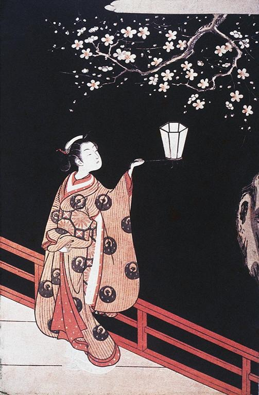 Girl Viewing Plum Blossoms at Night Suzuki Harunobu, 18th cen. Source: ArtStor