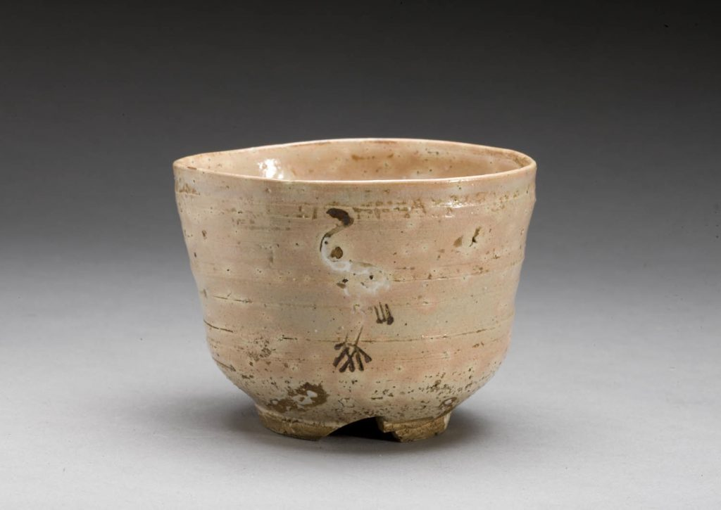 Tea bowl with Standing crane Design, Hagi ware, Japan; 16th or 17th cen. Source: AAMSF