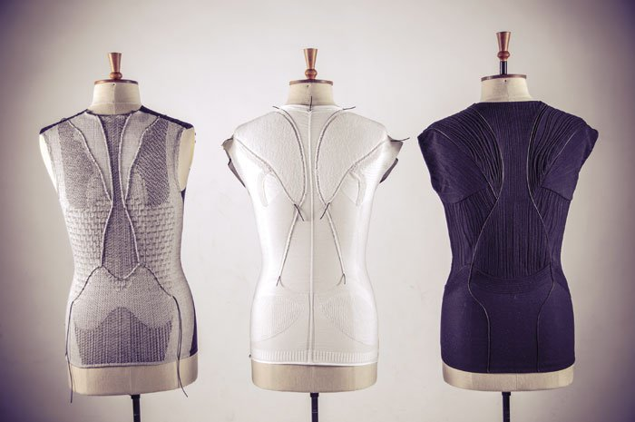 """""""Aeolia"""" by Sarah Kettley, with Tina Downes, Martha Glazzard, Nigel Marshall, and Karen Harrigan, explores the process of incorporating stretch sensors into garments through weaving, knitting, and embroidery techniques"""