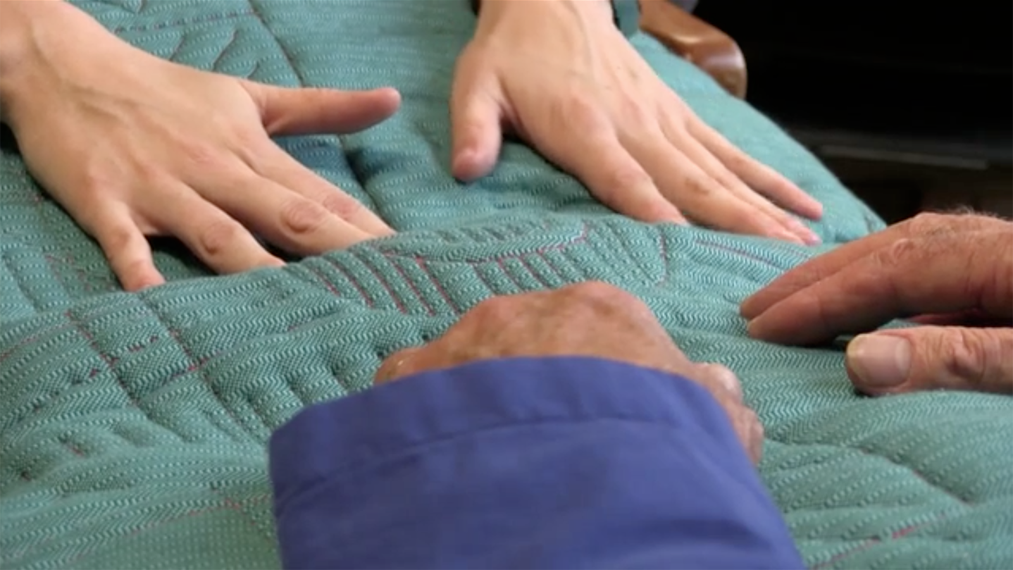 Tactile Dialogues is a beautifully designed e-textile pillow constructed with touch sensors and vibrating motors. The pillow is used to generate a positive interaction between a caregiver and an individual suffering from severe dementia.