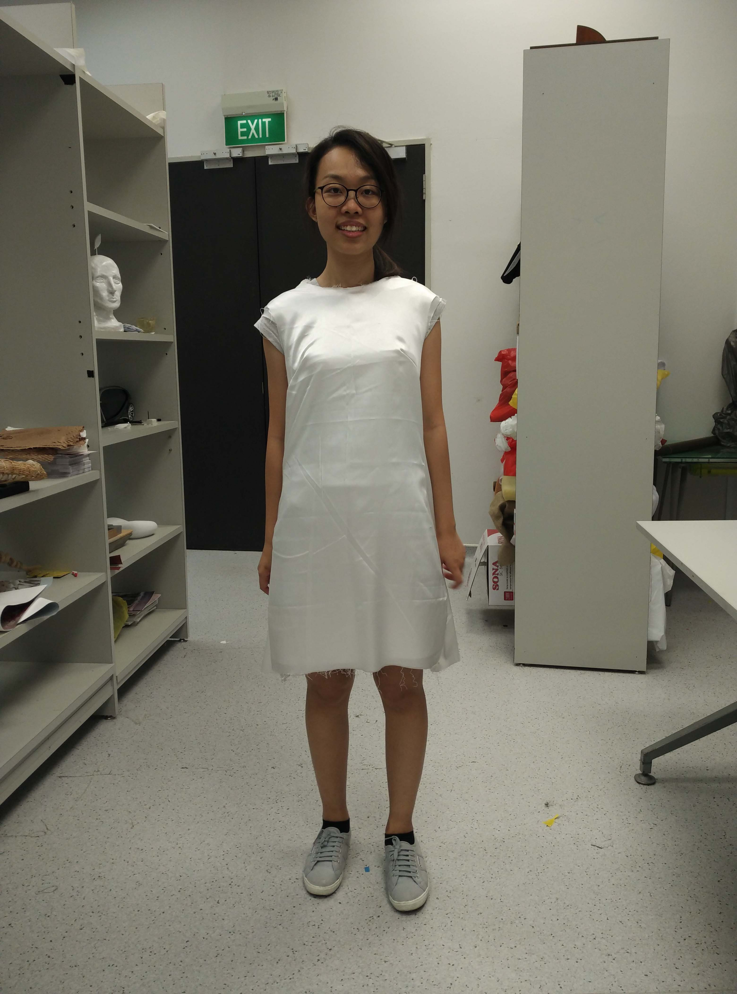 Sewing two layers to make a dress with guidance from Galina