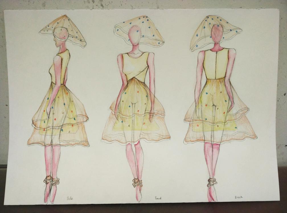 Sketch of Jellyfish dress