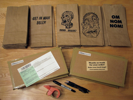 (Downloaded 4 November 2009) Sam Morrison, a 38-year-old prepress technician from Vicksburg, sells brown paper lunch bags with unique and creative designs. (Courtesy of Sam Morrison.) Max uncropped width: 51p9