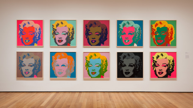 Installation view of Andy Warhol: The Shot Marilyns, 1964