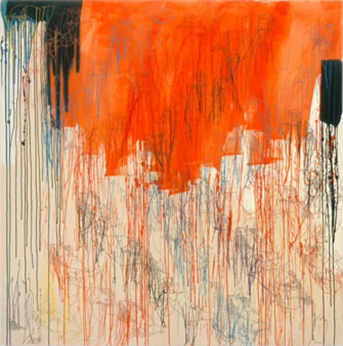 "Ghada Amer (Egypt, b. 1963), ""Red Diagonales,"" 2000. Arcylic, embroidery and gel medium on canvas, 72 × 72 in. (182.9 cm x 182.9 cm)."