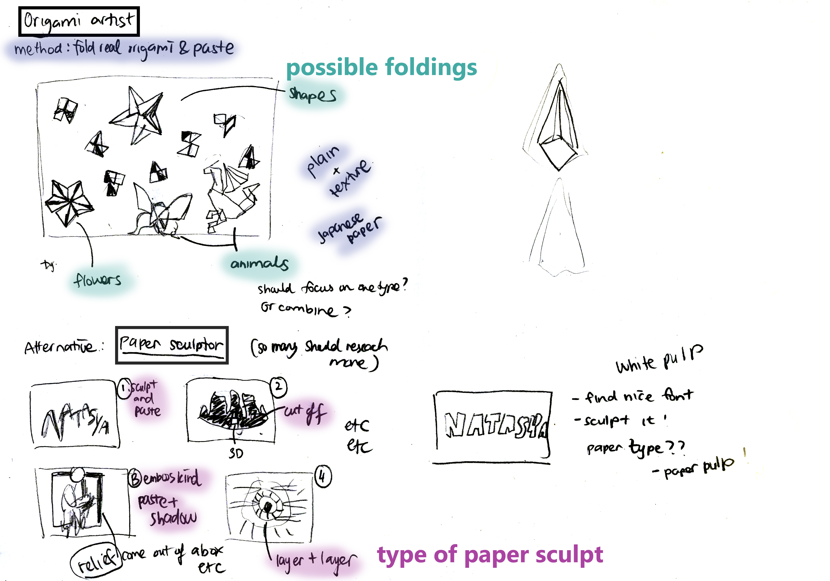 OrigamiArtist and Paper Sculptor Brainstorm