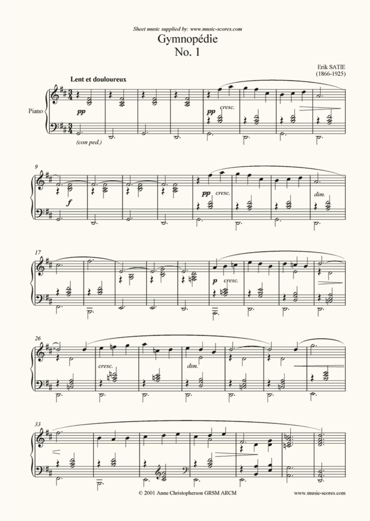 Erik Satie's Gymnopedie 1.