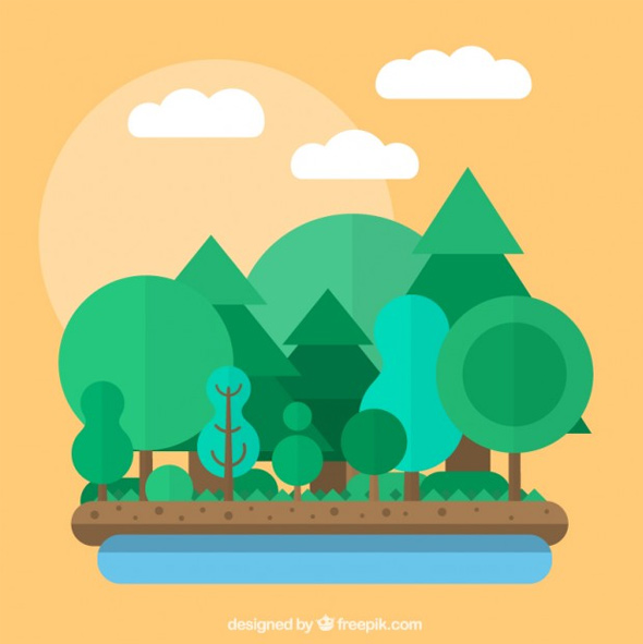 Forest-in-flat-design
