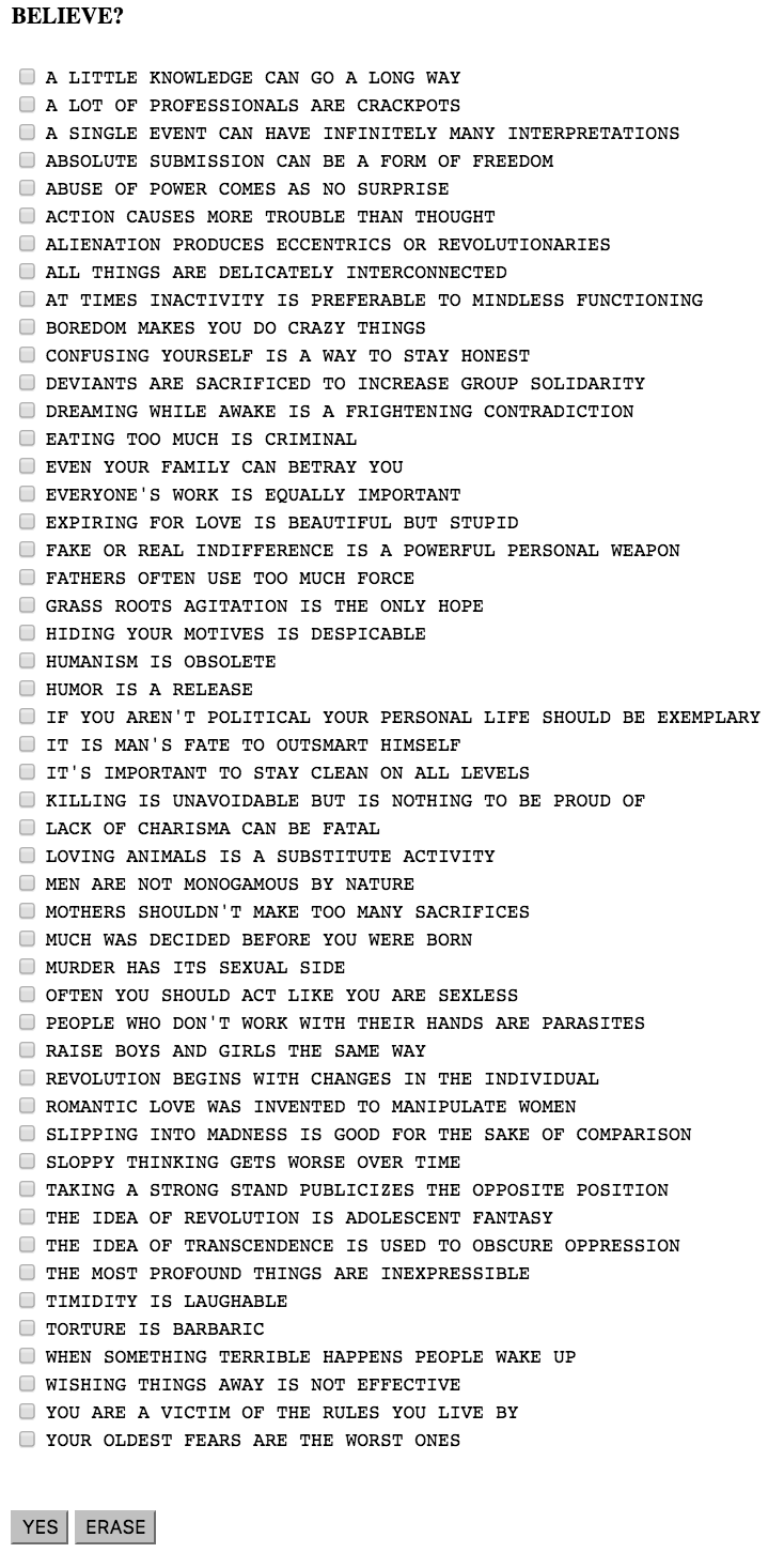 List of truisms from Please Change Beliefs (1997) by Jenny Holzer
