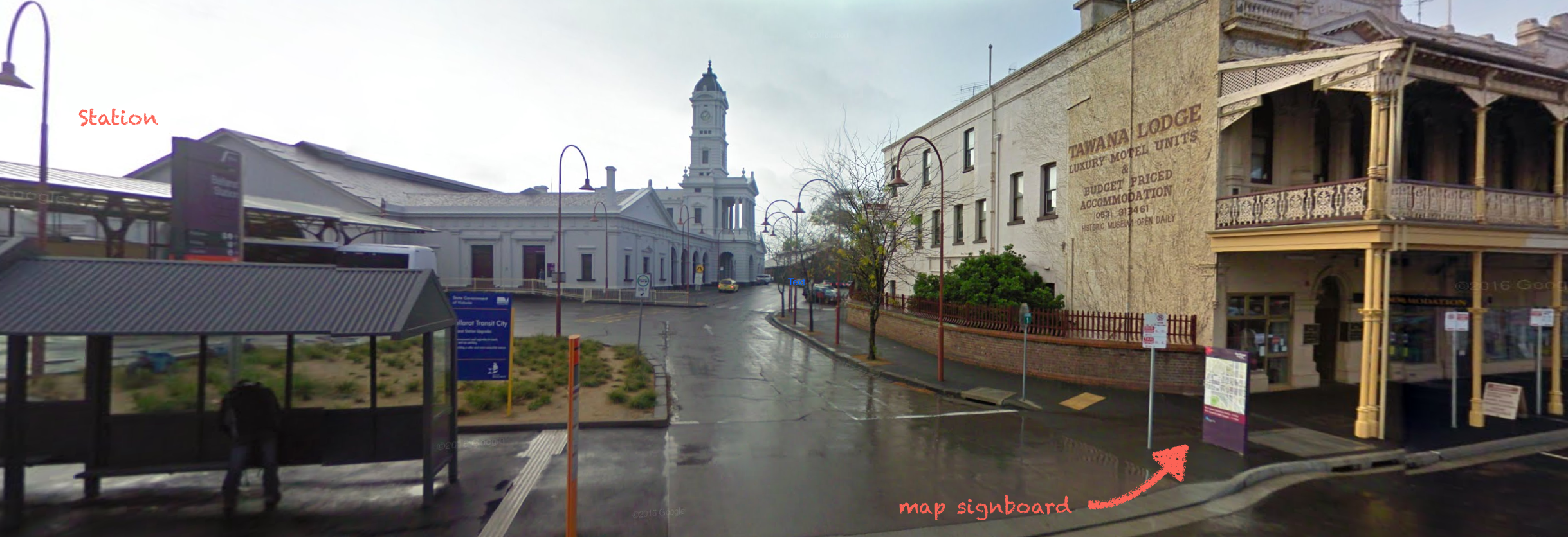 Google Street View of Ballarat Station with added notes