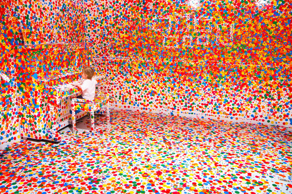 The Obliteration Room by Yayoi Kusama, when filled with stickers