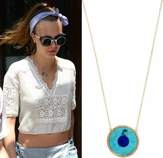 Jennifer Meyer on Cara Delevingne image source: http://www.fashionnstyle.com/articles/64652/20150617/cara-delevingne-wears-jennifer-meyer-evil-eye-necklace-in-new-york-city.htm last access 1st September 2016