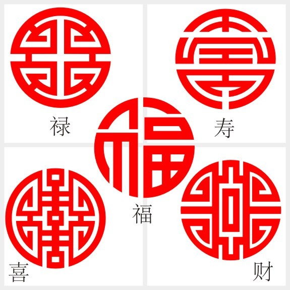 image source: https://world.taobao.com/item/43062526116.htm?fromSite=main reference of the motifs for auspicious Chinese characters. top left: wealth(salary) top right: longevity bottom left: happiness bottom right: wealth middle: luck/good vibes