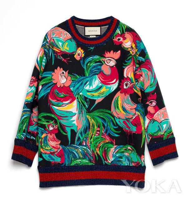 Gucci year of Chicken sweatshirt image source: http://www.yoka.com/luxury/toptalk/2016/1226/49769201065800_all.shtml#readall_1
