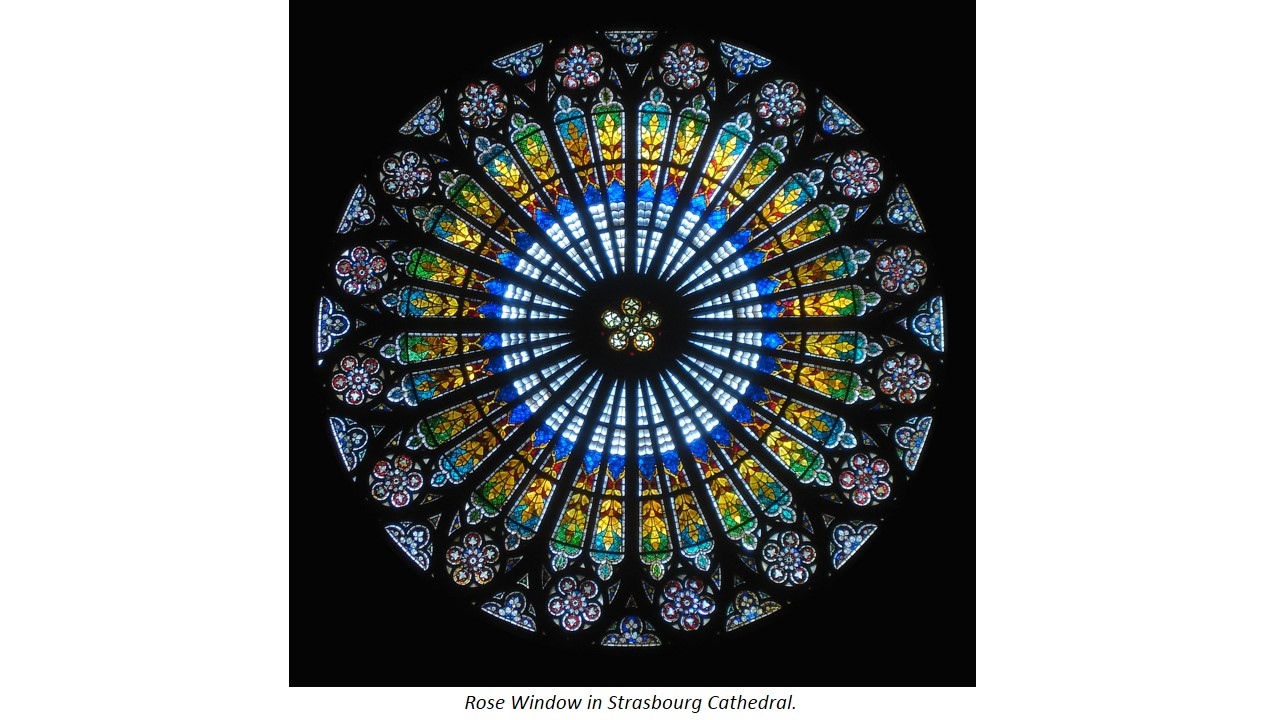 An example of art/ architecture that exhibits rotational symmetry is the Rose Window in the Strasbourg Cathedral that is often found in Gothic Architectural Style Churches.