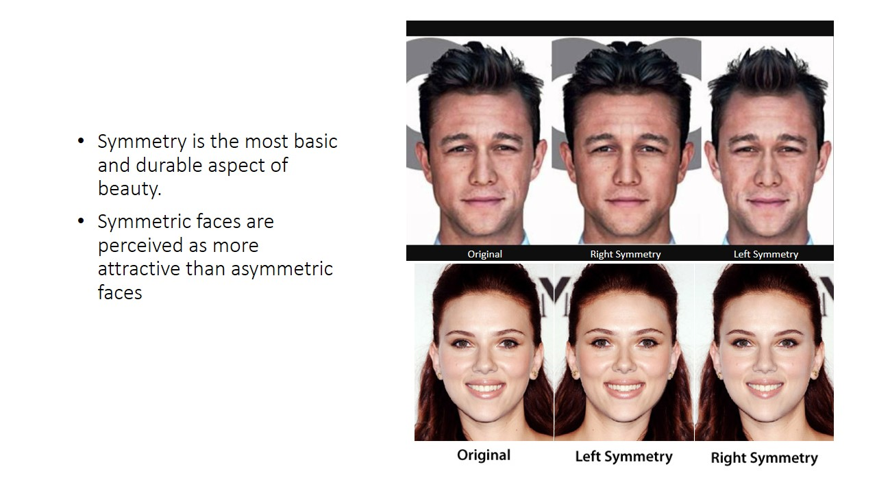 Symmetry is the most basic and durable aspect of beauty.  Symmetric faces are perceived as more attractive than asymmetric faces. And perhaps this is why very good looking people end up on screens, because they have an almost symmetrical face, which is perceived as the epitome of beauty. But of course, beauty is in the eye of the beholder.