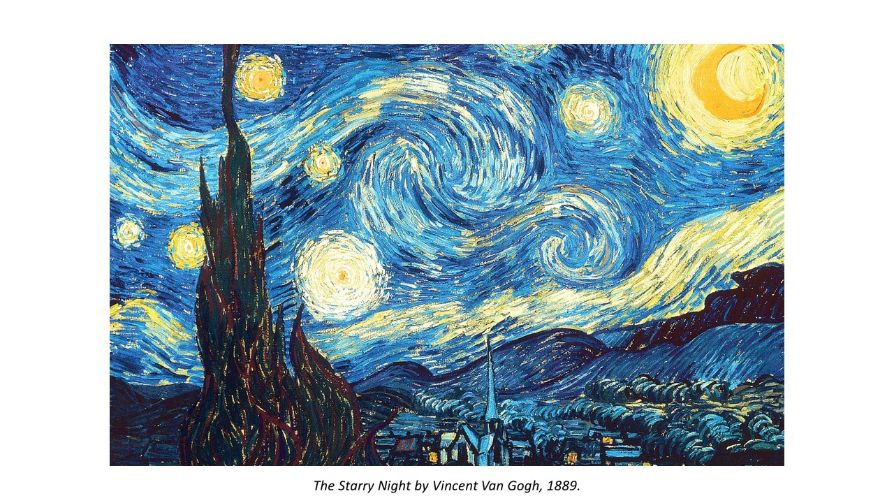 The Starry Night by Vincent Van Gogh is an example of how unity is achieved by the repetition of line. If you look closely, lines are the only mark that is used, thus the entire artwork is unified by the same texture that is consistent throughout piece.  The use of long lines, curved lines, thick lines and thin lines that create the movement we see in the painting, which adds variety to the work. By using the same mark throughout the whole painting, there is a great sense of unity throughout the piece.