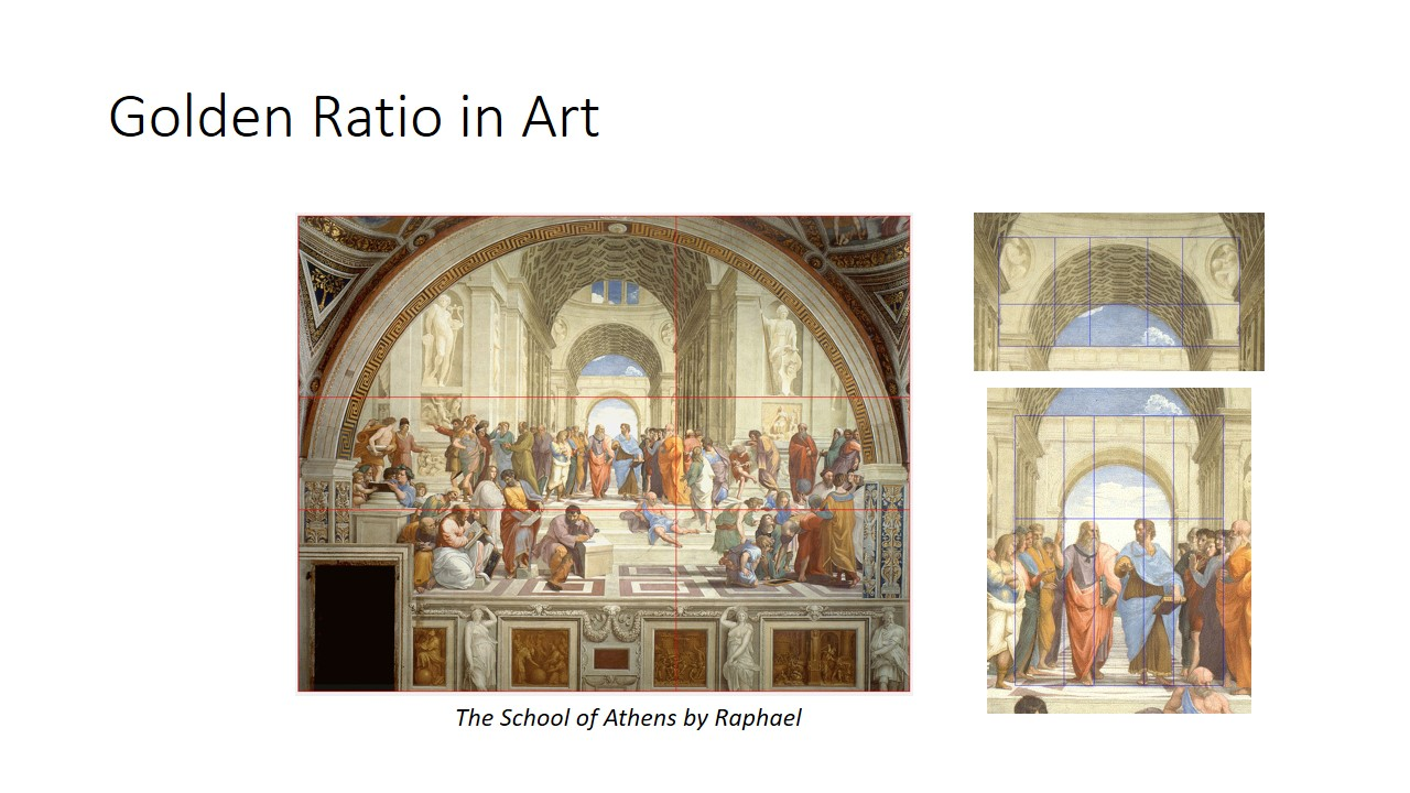 Golden ratio is used in art for aesthetics and visual harmony. The balance in the school of Athens by Raphael was only achievable through lots of repetitive use of phi like the position of the large wall of the first arch to the top of stairs at the floor.  The central figures draws our attention is because it is placed at the point of intersection of golden ratio.