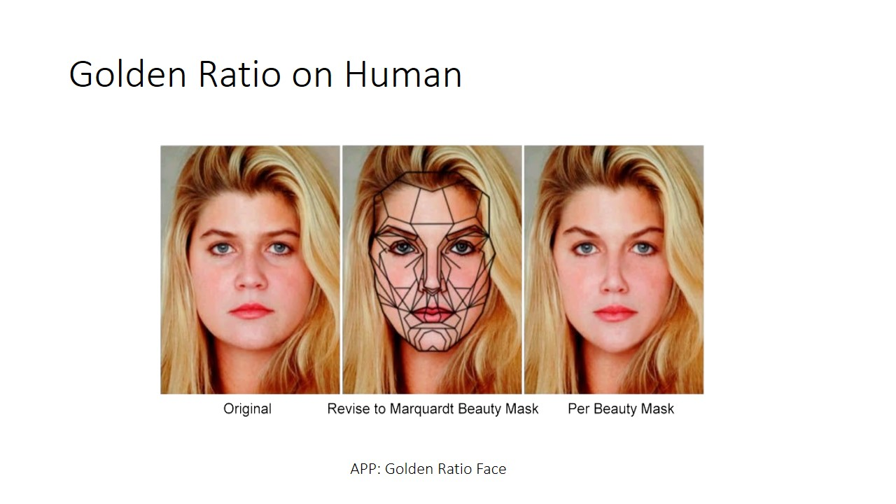 Golden ratio on human face. Our brains seem to be subconsciously attracted to things that uses Golden Ratio.. This is before and after phi applied face. Which one do u think is more attractive? U can also try out this app on google play store to see ur chio rating.