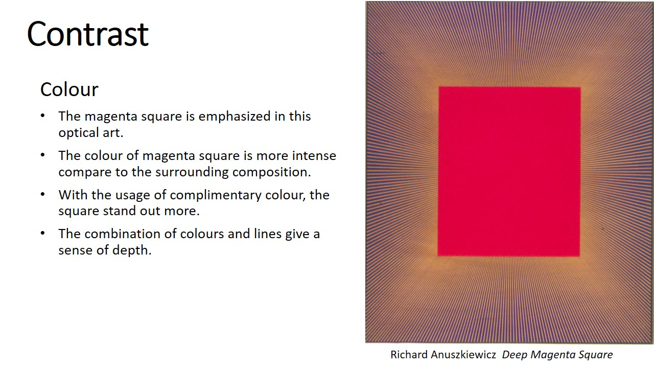 Deep magenta square by Richard Anuszkiewicz is an example of optical art. the magenta square is emphasized in the composition. Although the colors in background are fairly intense, they are much less intense than the magenta square. They are also made up of thin lines letting the large area of square dominates the composition. The subtle chemistry of complementary colors makes the geometry glow giving it a sense of depth.