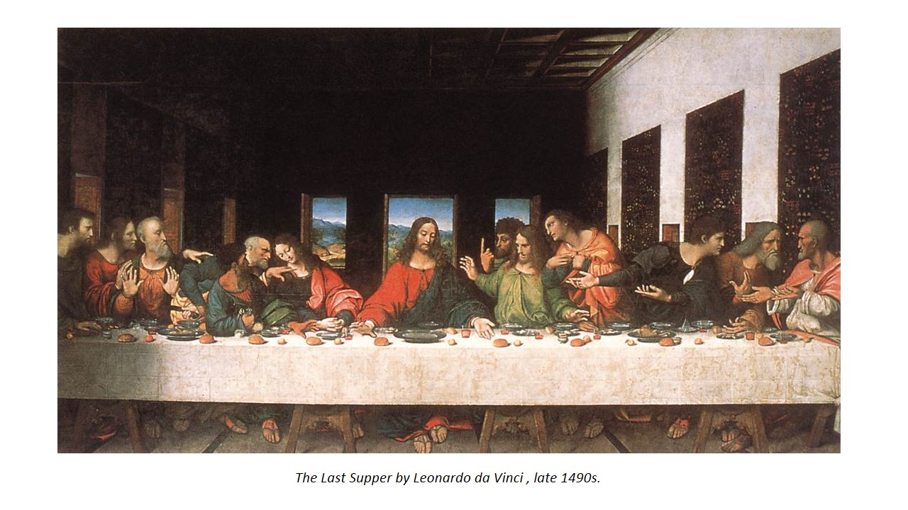 An example of Symmetrical Balance present in art is 'The Last Supper by Leonardo Da Vinci'. The Christ is in the centre. The architectural shapes in the background are mirror images of each other even though both sides are in contrast . The table is symmetrical. The amount of subject matters on the left and right of Christ are similar.