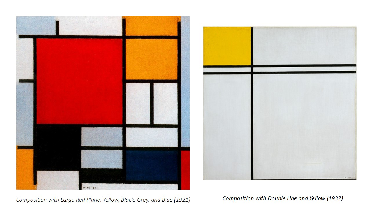 Asymmetrical balance is harder to grasp in an artwork as the artist must sense whether or not the composition is balanced. An example of an artwork that exhibits asymmetrical balance is Piet Mondrian's 'Composition with Large Red Plane, Yellow, Black, Grey, and Blue'. The composition is asymmetrical, with one large dominant block of colour, which is red, which is balanced by distribution of the smaller blocks of yellow, blue grey, and white around.  Whereas for his other painting Composition with Double Line and Yellow 1932, asymmetrical balance is achieved. Our eyes are drawn diagonally toward the center of that block of yellow . The size of the bottom right square weighs out the visual weight caused by the yellow block. To form a kind of dynamic equilibrium.