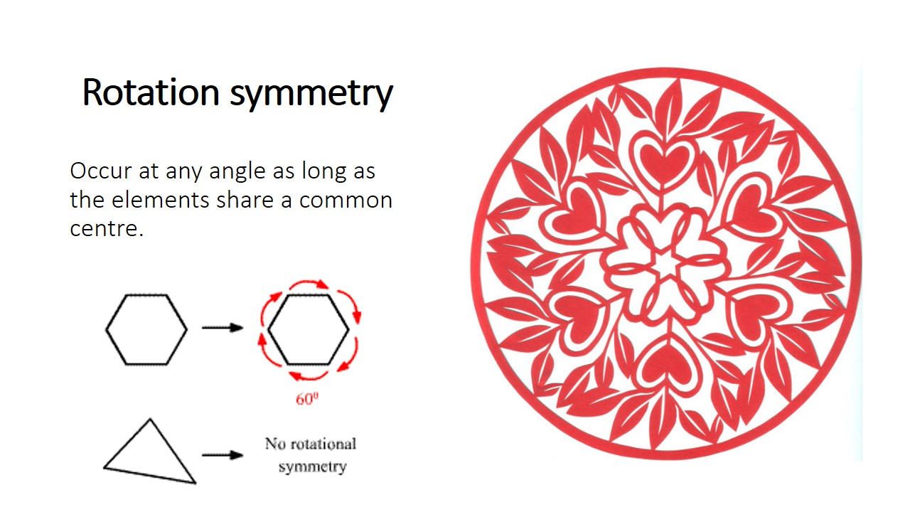 Rotation symmetry refers to the rotation of equivalent element around a common center. Whereby rotation of the element at any angle will produce the original image.