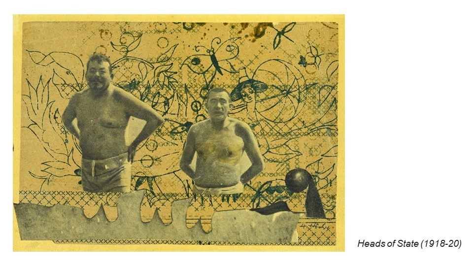 "For example, Hannah Hoch's ""Heads of State"". Then German president Friedrich Ebert and his Minister of Defense, Gustav Noske, were newspaper cut outs and placed against the background pattern of flowers and butterflies surrounding a woman. The subjects are presented frolicking in a whimsical fantasy land, as if they are unaware of the political and financial hardships being faced by Germany and its citizens during this period. Through the rearrangement of image on a new background, a new meaning is given to the original image."