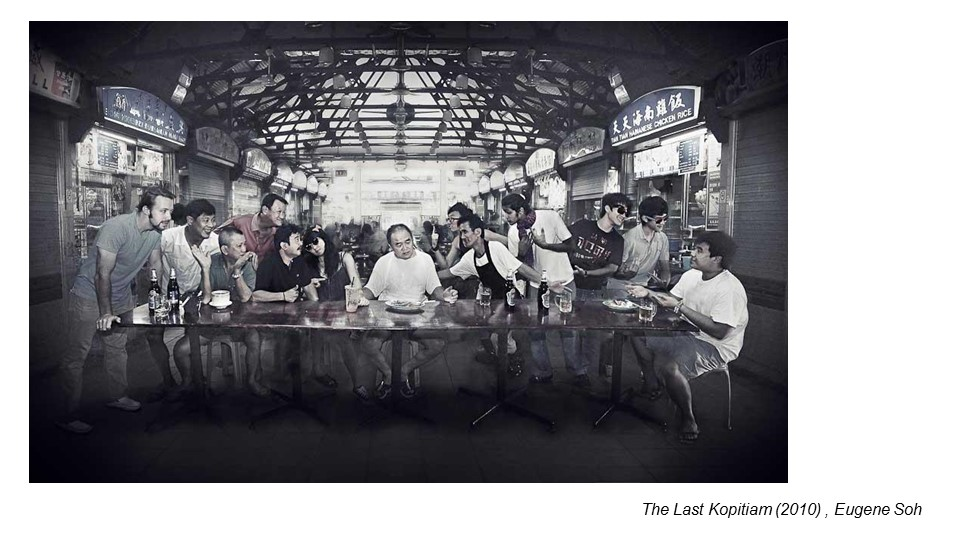 This is a work by local artist, Eugene Soh. He is also a former ADM student. This work was done during his first year in uni, as he was approached by Campus magazine for a feature. As you see, this is a reproduced work of The Last Supper. The people in this photo were captured individually. And Eugene photoshopped them into a single image. This transformation adds a local touch and humor to the famous artwork.