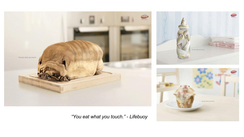 Another similar project by Nemesis Pictures. They did this advertisement for Lifebuoy. I find that the molding of animals into the form of food really works well with the quote. Instilling awareness in people.