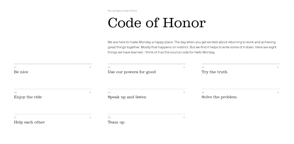Hello Monday's Code of Honour