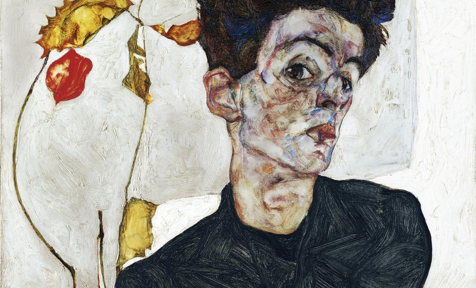 EGON SCHIELE, Self-Portrait with Chinese Lantern Plant, 1912, oil and gouache on wood, 11 3/4 x 15 3/4 inches (32.2 x 39.8 cm), Leopold Museum, Vienna
